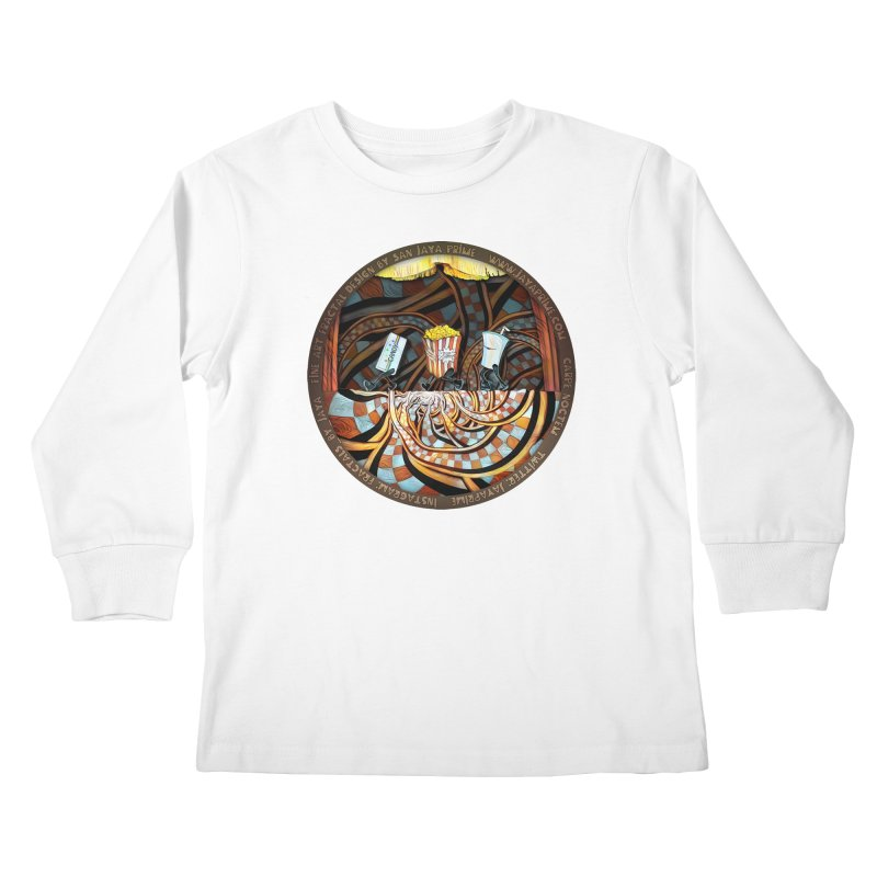 Night at the Route 66 Drive-In Movie Theater Kids Longsleeve T-Shirt by The Fractal Art of San Jaya Prime