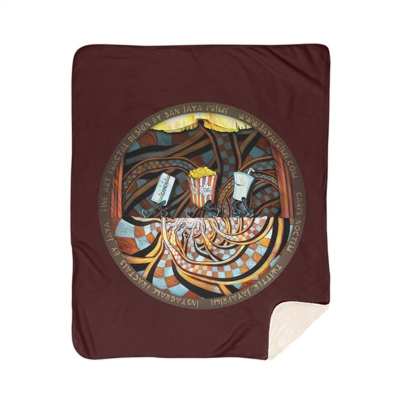 Night at the Route 66 Drive-In Movie Theater Home Blanket by The Fractal Art of San Jaya Prime
