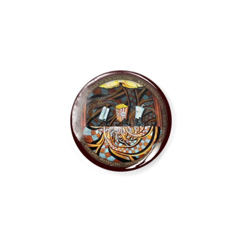 Night at the Route 66 Drive-In Movie Theater Accessories Button by The Fractal Art of San Jaya Prime