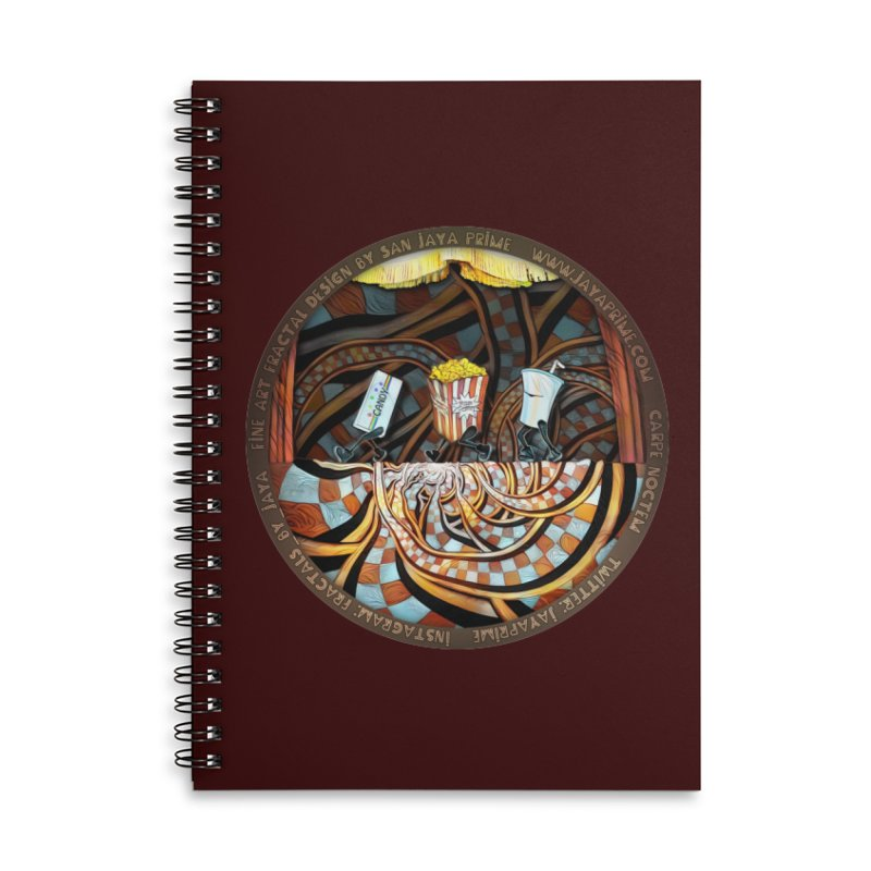 Night at the Route 66 Drive-In Movie Theater Accessories Notebook by The Fractal Art of San Jaya Prime
