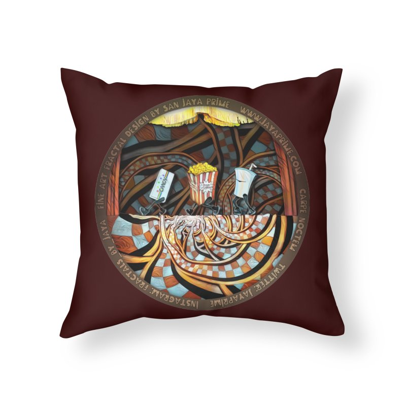 Night at the Route 66 Drive-In Movie Theater Home Throw Pillow by The Fractal Art of San Jaya Prime