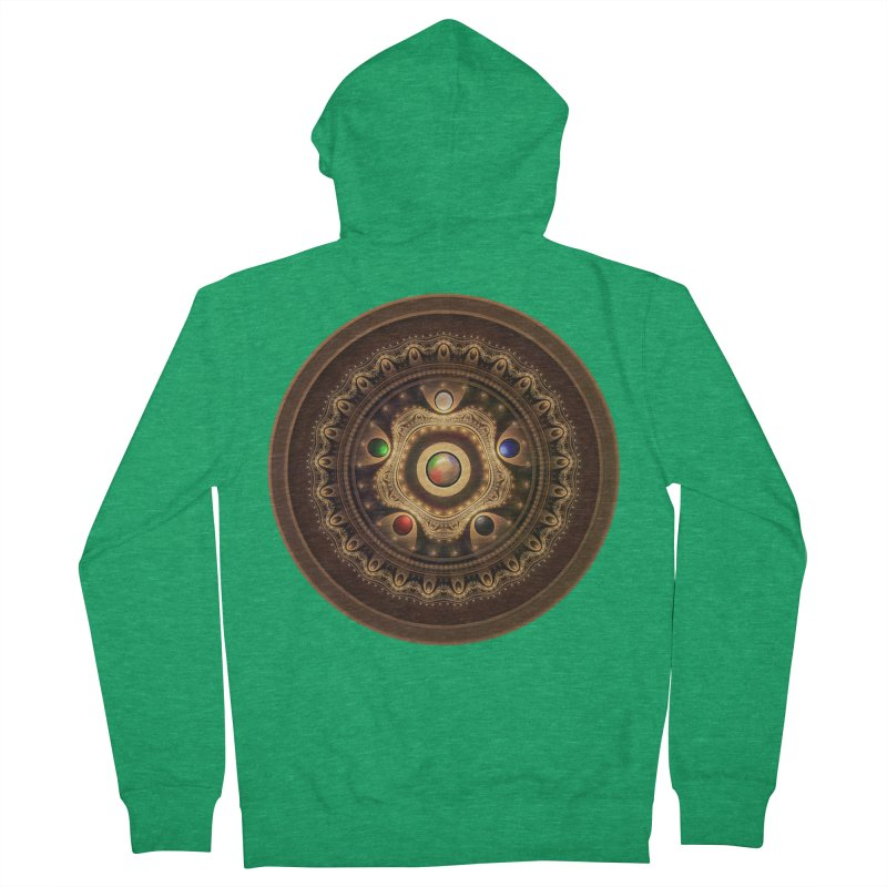 Gathering the Five Fractal Colors of Magic Men's Zip-Up Hoody by The Fractal Art of San Jaya Prime