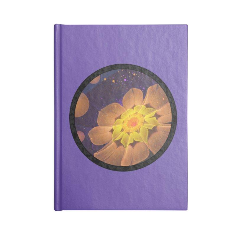 Beautiful Violet & Peach Primrose Fractal Flowers in Lined Journal Notebook by The Fractal Art of San Jaya Prime