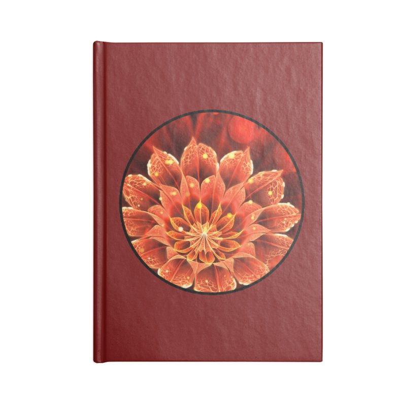 Beautiful Ruby Red Dahlia Fractal Lotus Flower in Lined Journal Notebook by The Fractal Art of San Jaya Prime