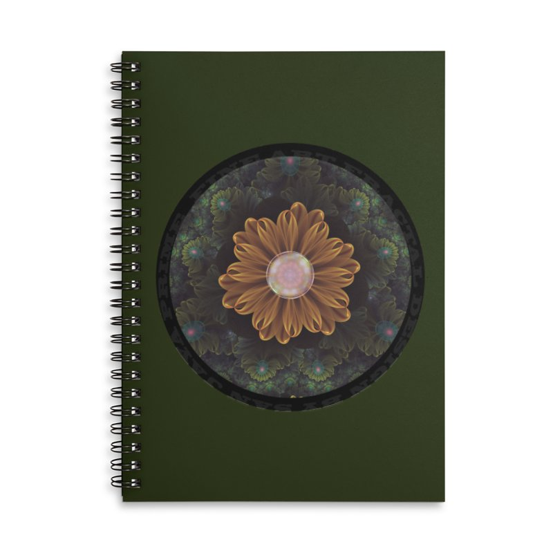 Abloom in Autumn Leaves with Faded Fractal Flowers Accessories Notebook by The Fractal Art of San Jaya Prime