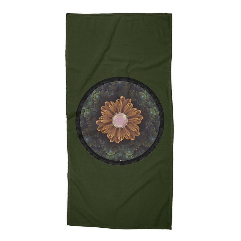 Abloom in Autumn Leaves with Faded Fractal Flowers Accessories Beach Towel by The Fractal Art of San Jaya Prime