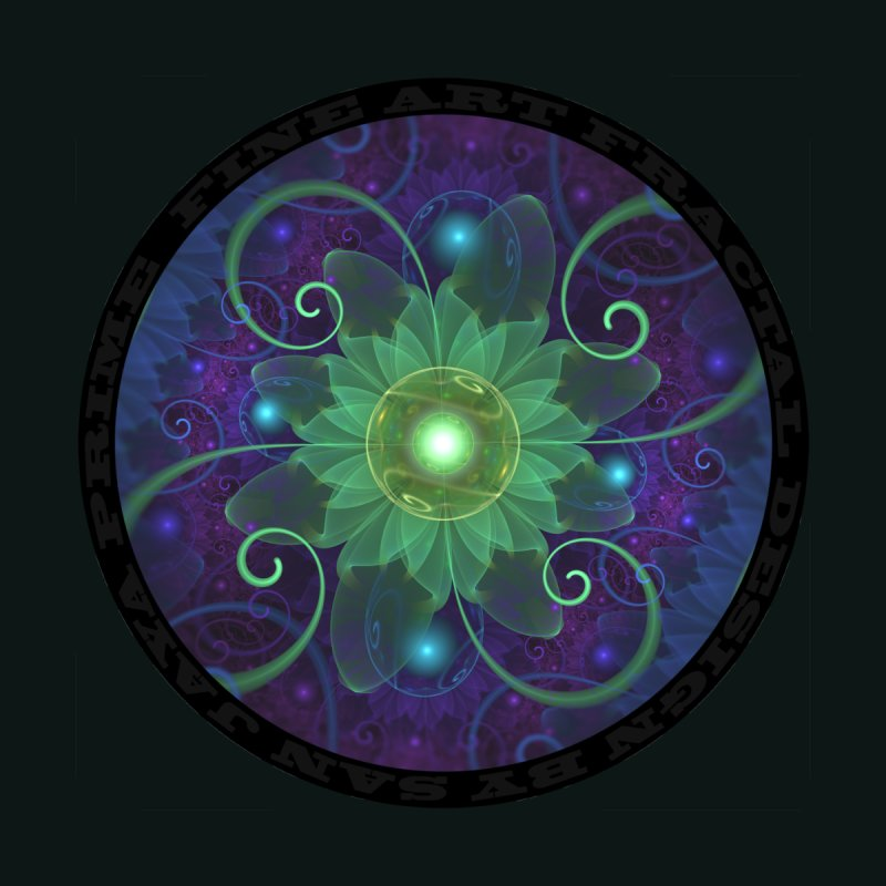 Glowing Blue-Green Fractal Lotus Lily Pad Pond Accessories Notebook by The Fractal Art of San Jaya Prime