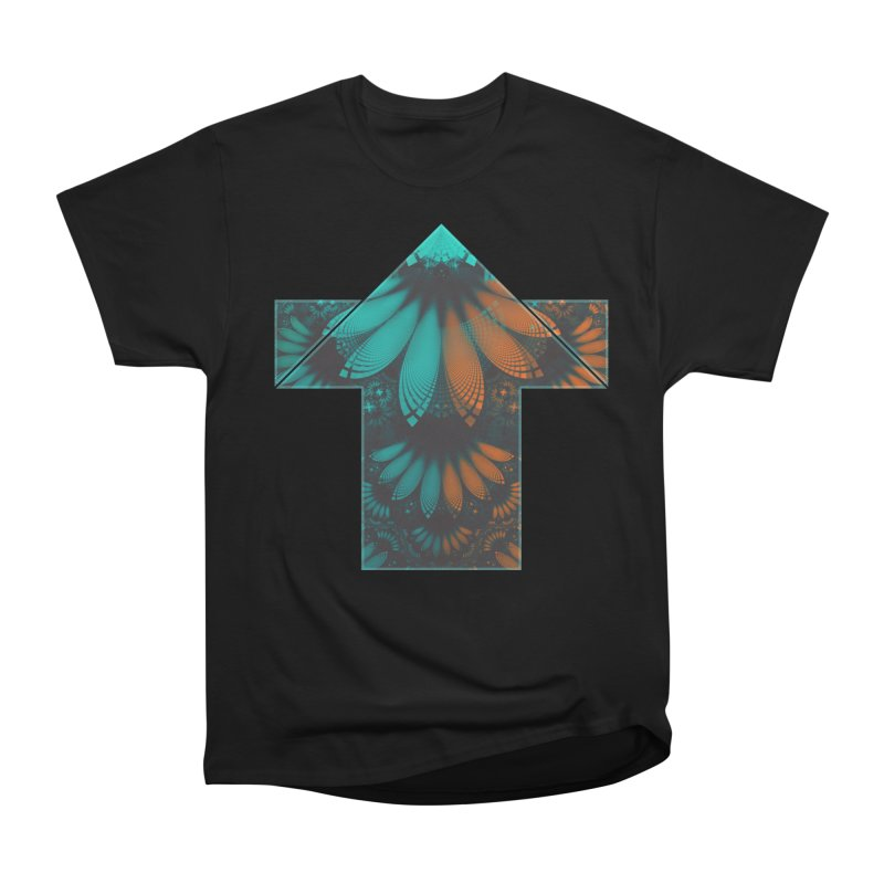 Beautiful Teal and Orange Paisley Fractal Feathers in Women's Heavyweight Unisex T-Shirt Black by The Fractal Art of San Jaya Prime