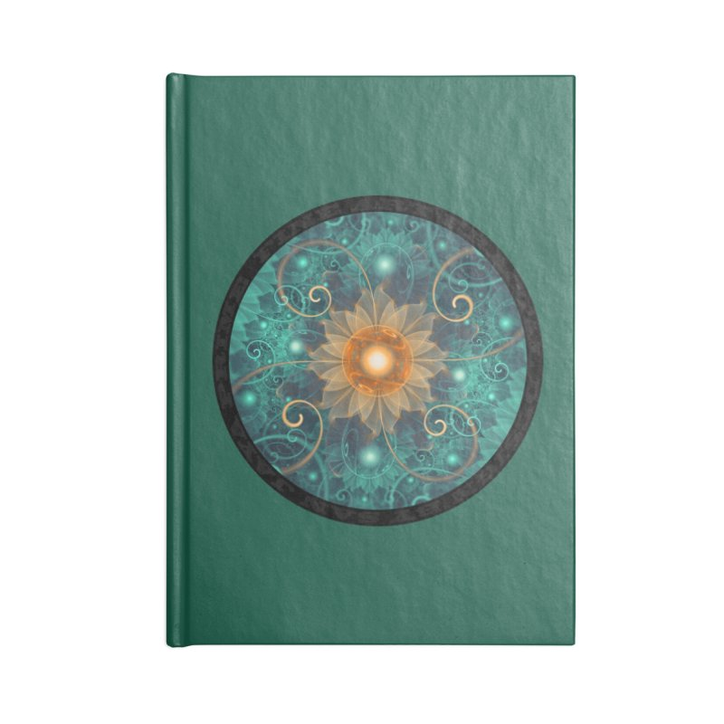 Beautiful Tangerine Orange and Teal Lotus Fractals in Lined Journal Notebook by The Fractal Art of San Jaya Prime