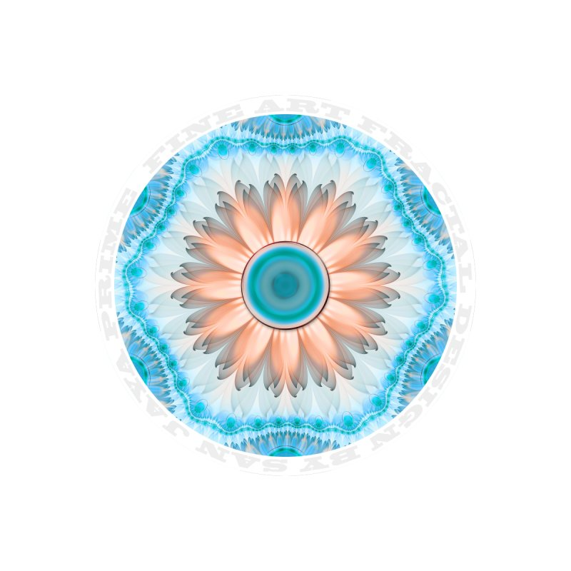 Clean and Pure Turquoise and White Fractal Flower Accessories Notebook by The Fractal Art of San Jaya Prime