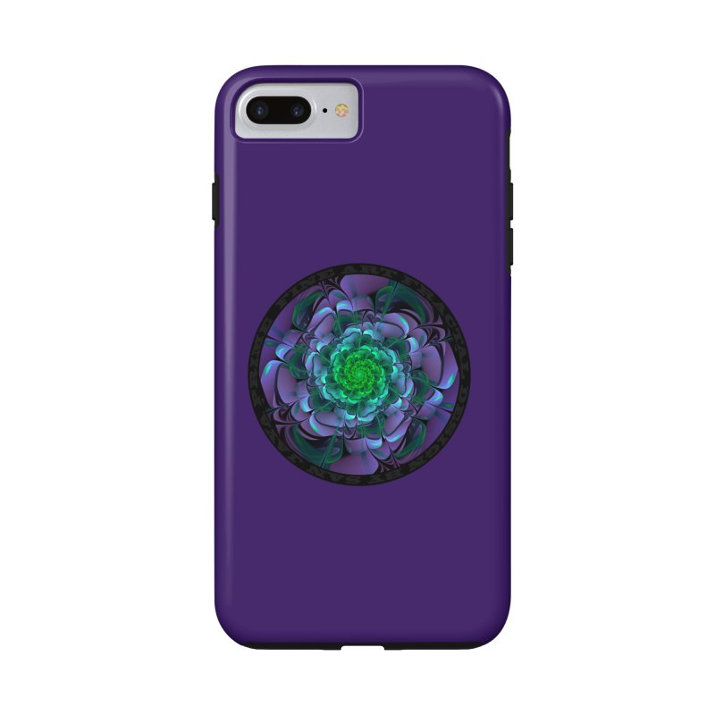 Beautiful Purple & Green Aeonium Arboreum Zwartkop in iPhone 7 Plus Phone Case Tough by The Fractal Art of San Jaya Prime