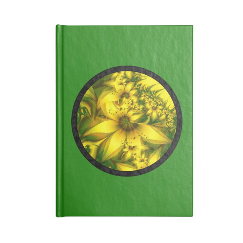 Beautiful Yellow-Green Meadow of Daffodil Flowers in Lined Journal Notebook by The Fractal Art of San Jaya Prime