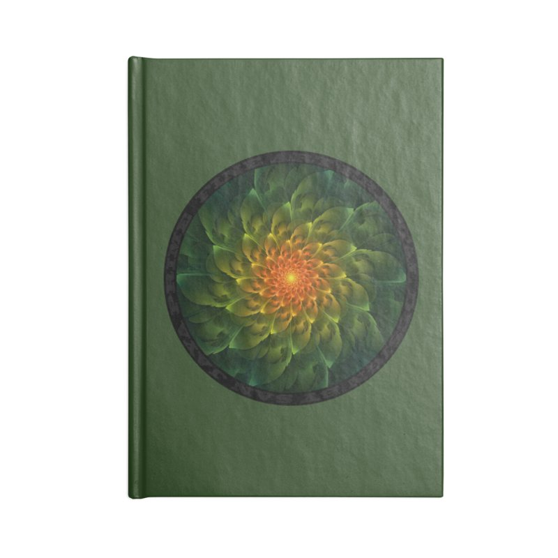 Beautiful Orange-Green Desert Cactus FractalSpiral in Lined Journal Notebook by The Fractal Art of San Jaya Prime