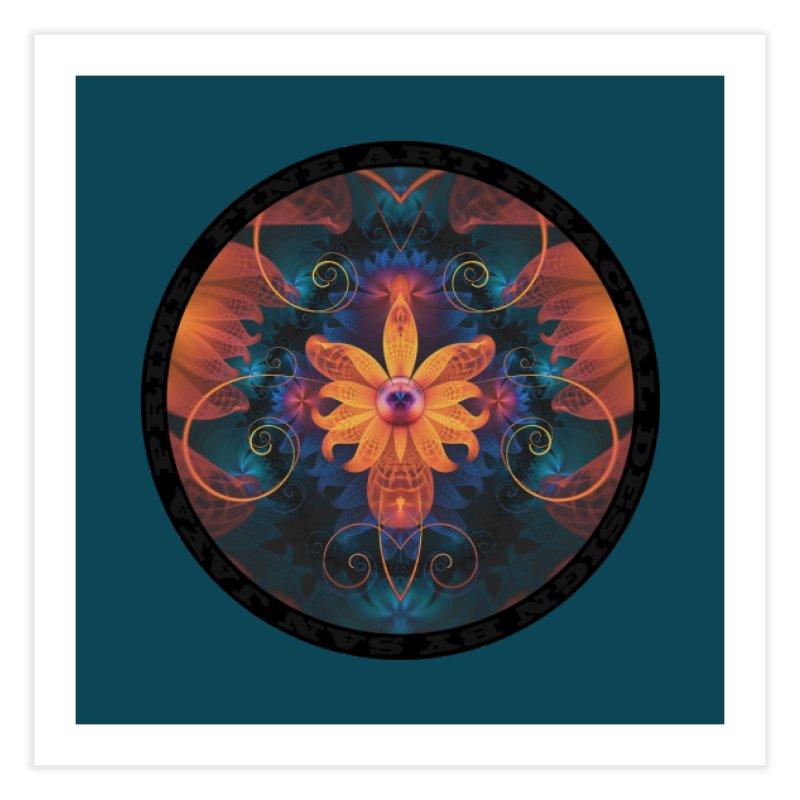 Beautiful Orange-Blue Fractal Angel Orchid Flower Home Fine Art Print by The Fractal Art of San Jaya Prime