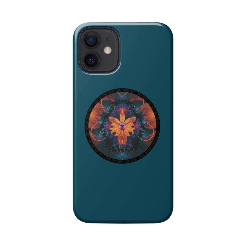 Beautiful Orange-Blue Fractal Angel Orchid Flower Accessories Phone Case by The Fractal Art of San Jaya Prime