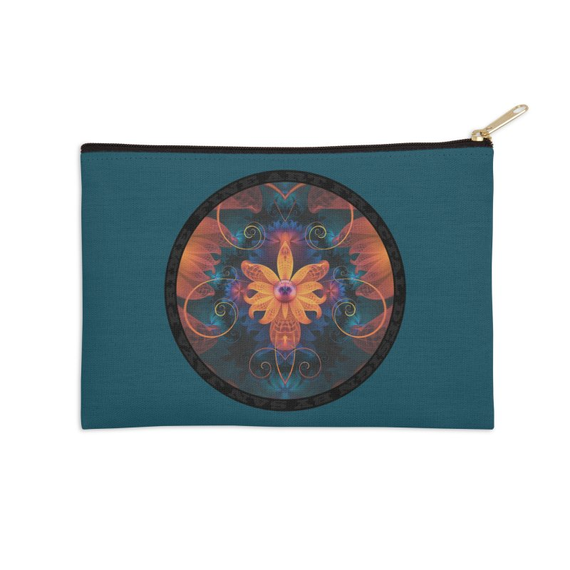 Beautiful Orange-Blue Fractal Angel Orchid Flower Accessories Zip Pouch by The Fractal Art of San Jaya Prime
