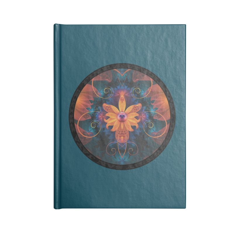 Beautiful Orange-Blue Fractal Angel Orchid Flower in Lined Journal Notebook by The Fractal Art of San Jaya Prime
