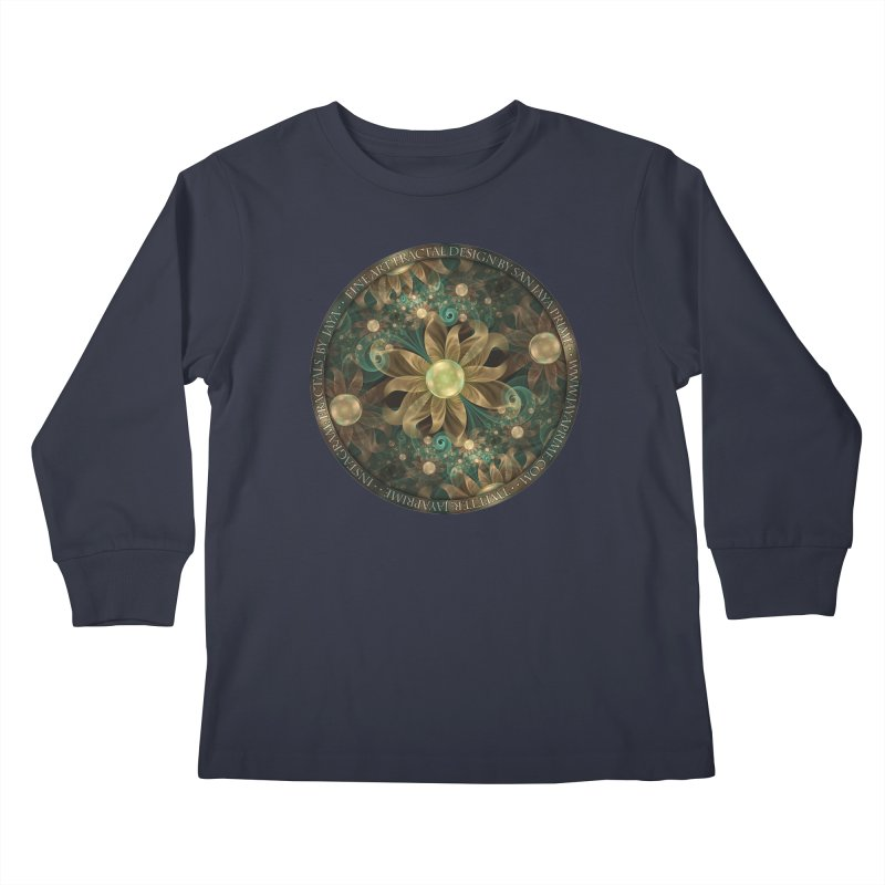 Shining Gems Blooming as Bronze and Copper Flowers Kids Longsleeve T-Shirt by The Fractal Art of San Jaya Prime