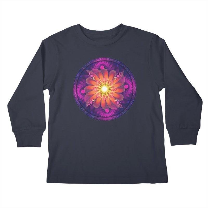 Purple Hibiscus Tea with Orange Chamomile Flowers Kids Longsleeve T-Shirt by The Fractal Art of San Jaya Prime