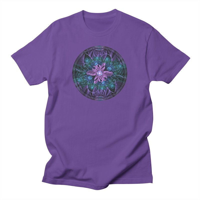 Bejeweled Butterfly Lily of Ultra-Violet Turquoise Men's T-Shirt by The Fractal Art of San Jaya Prime