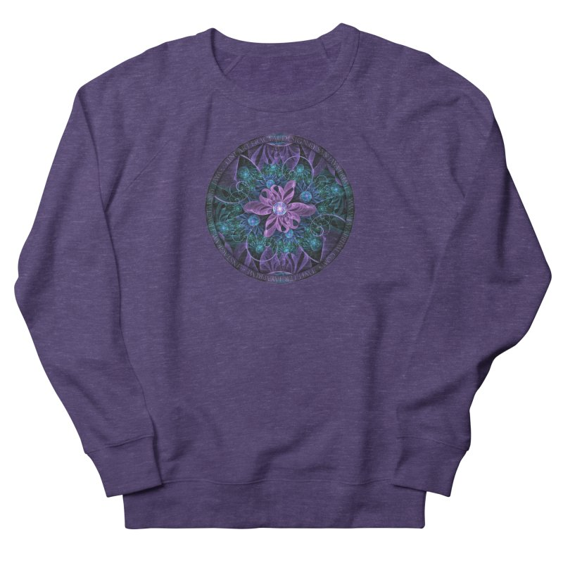 Bejeweled Butterfly Lily of Ultra-Violet Turquoise Men's French Terry Sweatshirt by The Fractal Art of San Jaya Prime