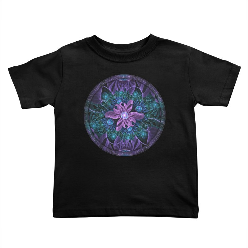 Bejeweled Butterfly Lily of Ultra-Violet Turquoise Kids Toddler T-Shirt by The Fractal Art of San Jaya Prime