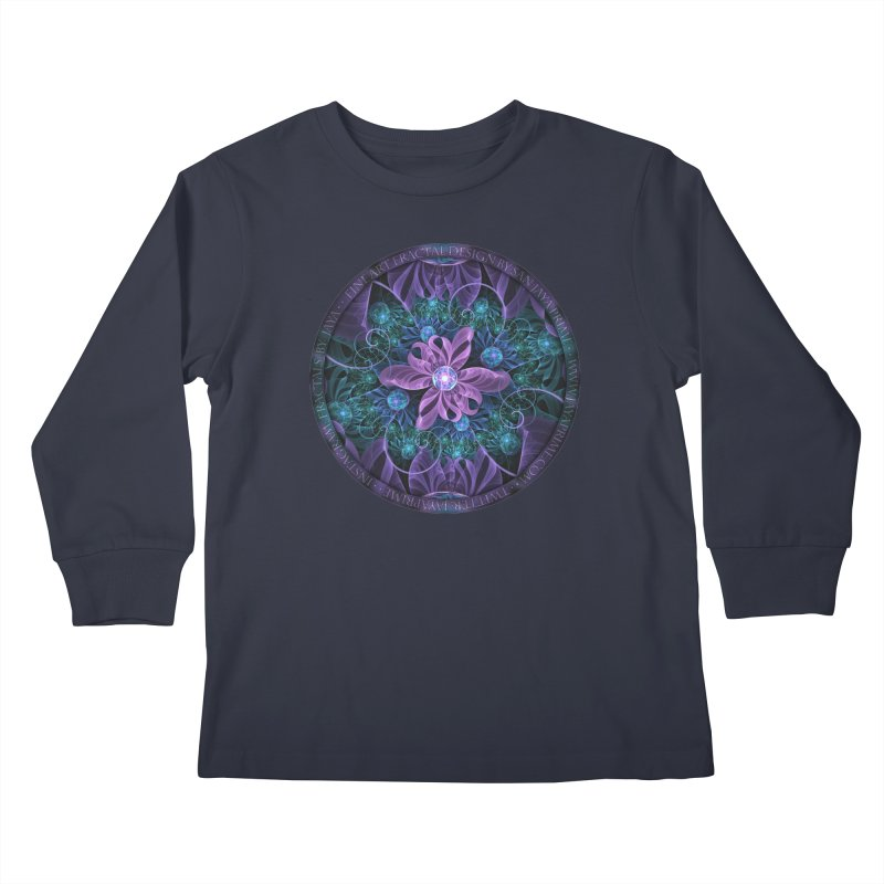 Bejeweled Butterfly Lily of Ultra-Violet Turquoise Kids Longsleeve T-Shirt by The Fractal Art of San Jaya Prime