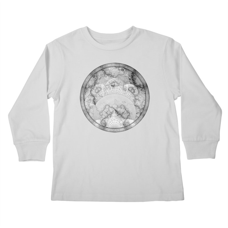 Foliated Marble as a Geometric Map of the Universe Kids Longsleeve T-Shirt by The Fractal Art of San Jaya Prime