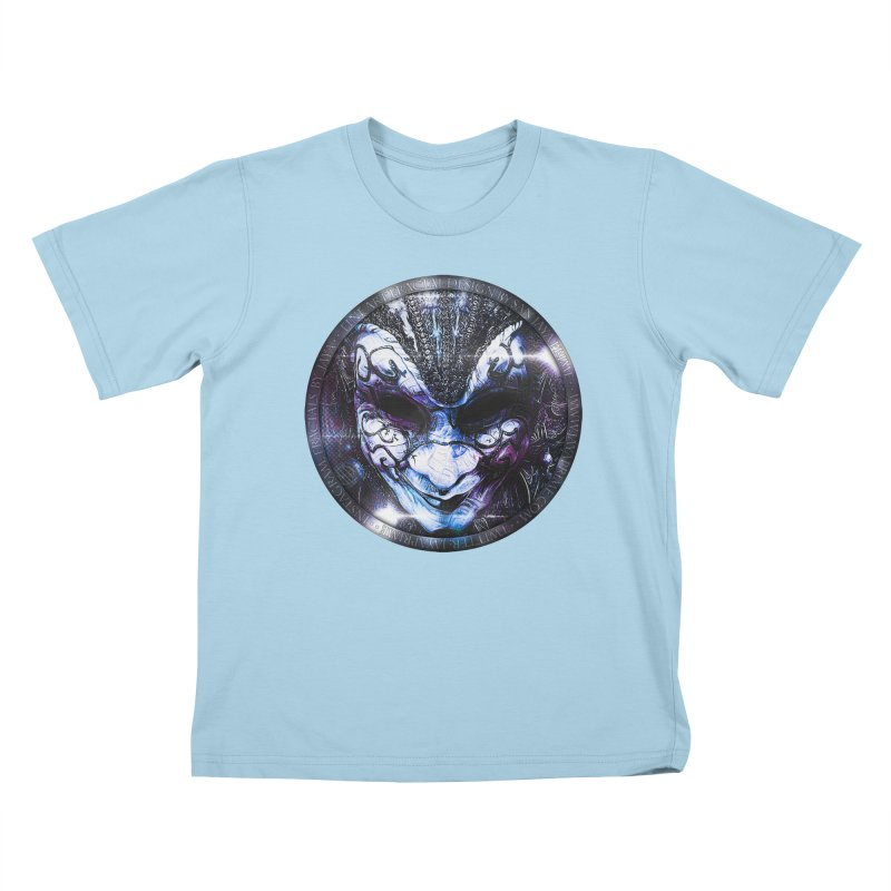 Blue Venetian Mask Worn by the Gypsy of the Moon Kids T-Shirt by The Fractal Art of San Jaya Prime