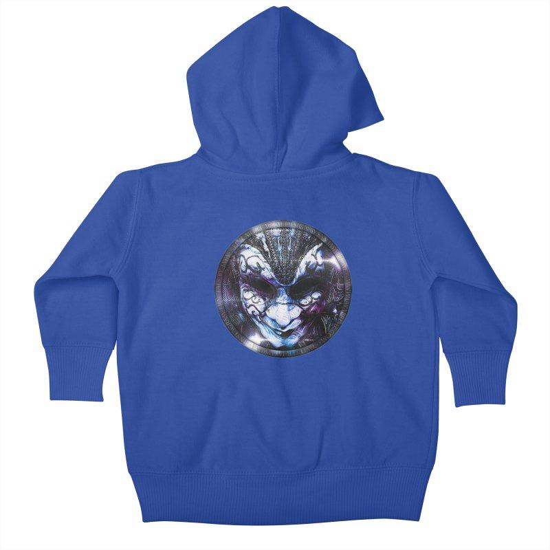 Blue Venetian Mask Worn by the Gypsy of the Moon Kids Baby Zip-Up Hoody by The Fractal Art of San Jaya Prime