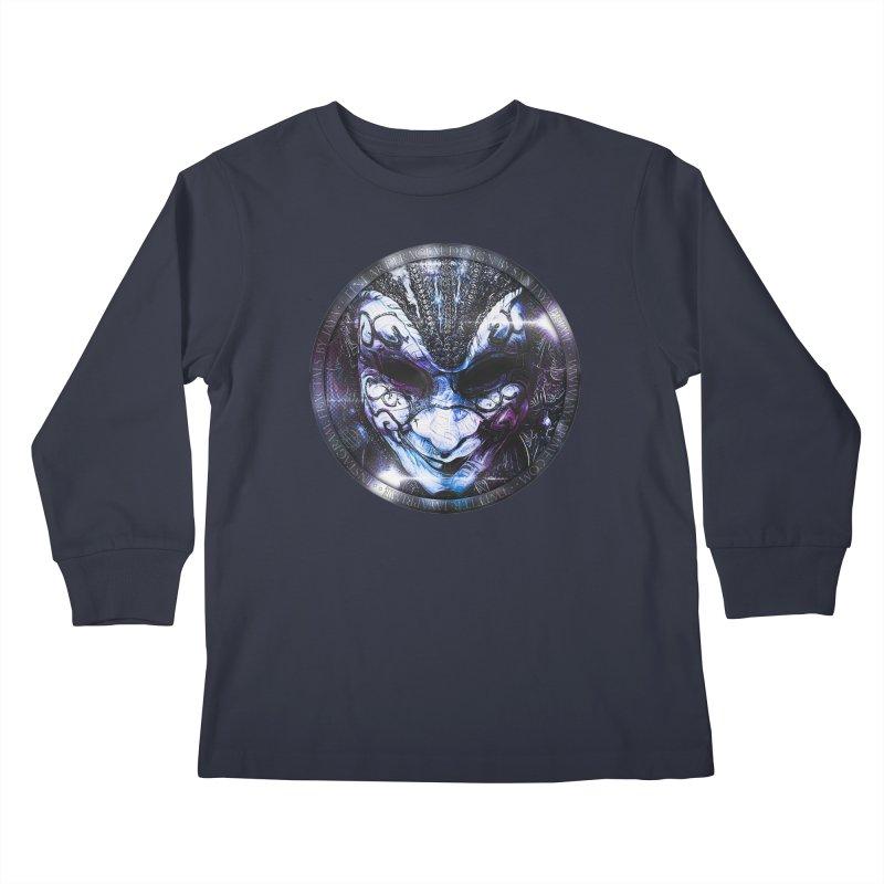 Blue Venetian Mask Worn by the Gypsy of the Moon Kids Longsleeve T-Shirt by The Fractal Art of San Jaya Prime