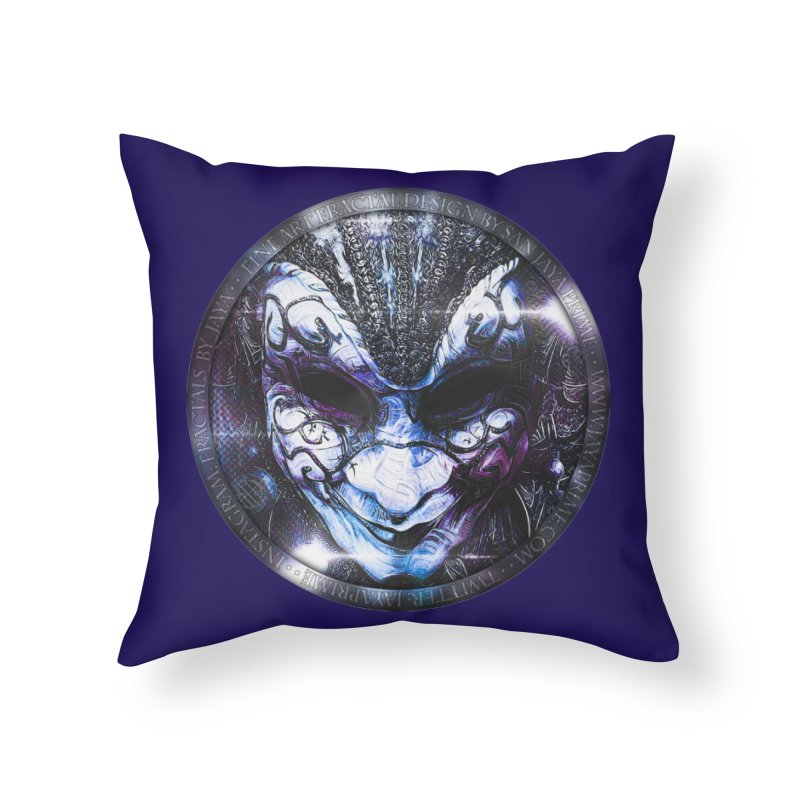 Blue Venetian Mask Worn by the Gypsy of the Moon Home Throw Pillow by The Fractal Art of San Jaya Prime