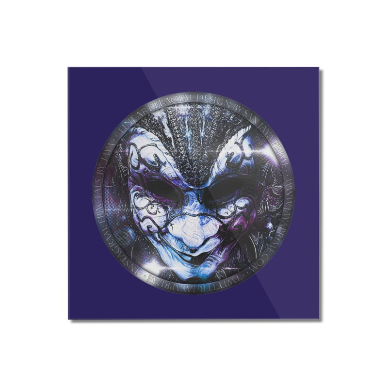 Blue Venetian Mask Worn by the Gypsy of the Moon Home Mounted Acrylic Print by The Fractal Art of San Jaya Prime