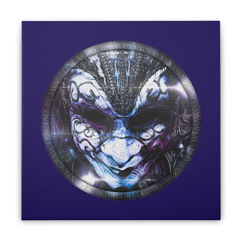 Blue Venetian Mask Worn by the Gypsy of the Moon Home Stretched Canvas by The Fractal Art of San Jaya Prime