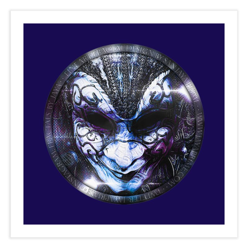 Blue Venetian Mask Worn by the Gypsy of the Moon Home Fine Art Print by The Fractal Art of San Jaya Prime