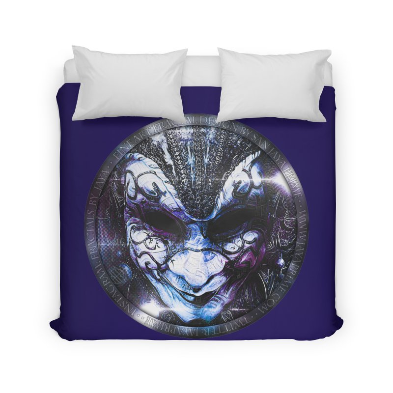 Blue Venetian Mask Worn by the Gypsy of the Moon Home Duvet by The Fractal Art of San Jaya Prime