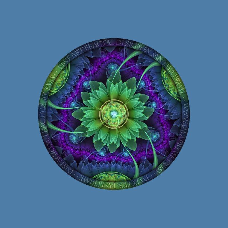 Blue and Green Pandoran Snap Lotus Fractal Flower Kids Baby Bodysuit by The Fractal Art of San Jaya Prime