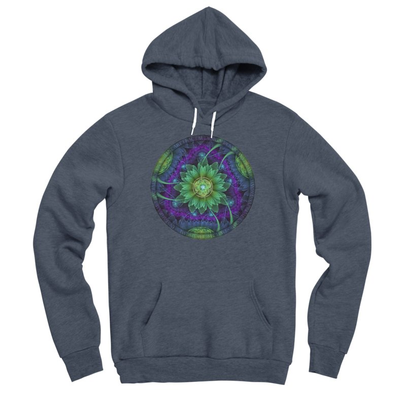 Blue and Green Pandoran Snap Lotus Fractal Flower Women's Sponge Fleece Pullover Hoody by The Fractal Art of San Jaya Prime
