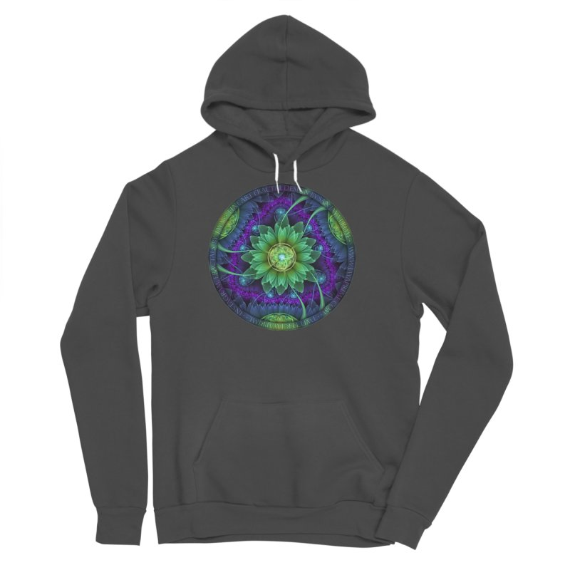 Blue and Green Pandoran Snap Lotus Fractal Flower Men's Sponge Fleece Pullover Hoody by The Fractal Art of San Jaya Prime