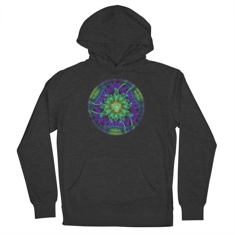 Blue and Green Pandoran Snap Lotus Fractal Flower Women's French Terry Pullover Hoody by The Fractal Art of San Jaya Prime