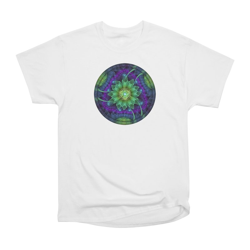 Blue and Green Pandoran Snap Lotus Fractal Flower Women's Heavyweight Unisex T-Shirt by The Fractal Art of San Jaya Prime