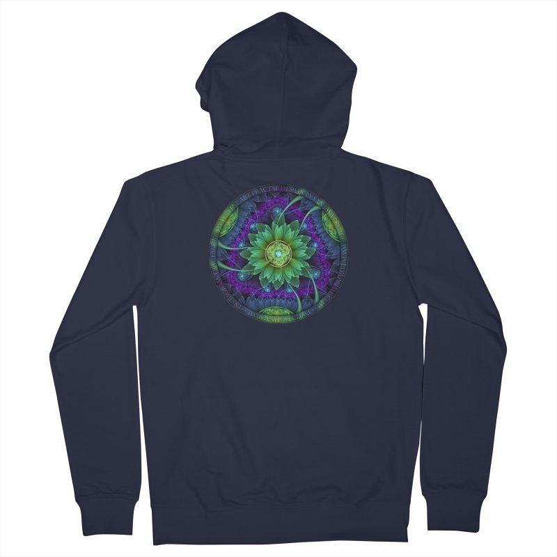 Blue and Green Pandoran Snap Lotus Fractal Flower Men's French Terry Zip-Up Hoody by The Fractal Art of San Jaya Prime