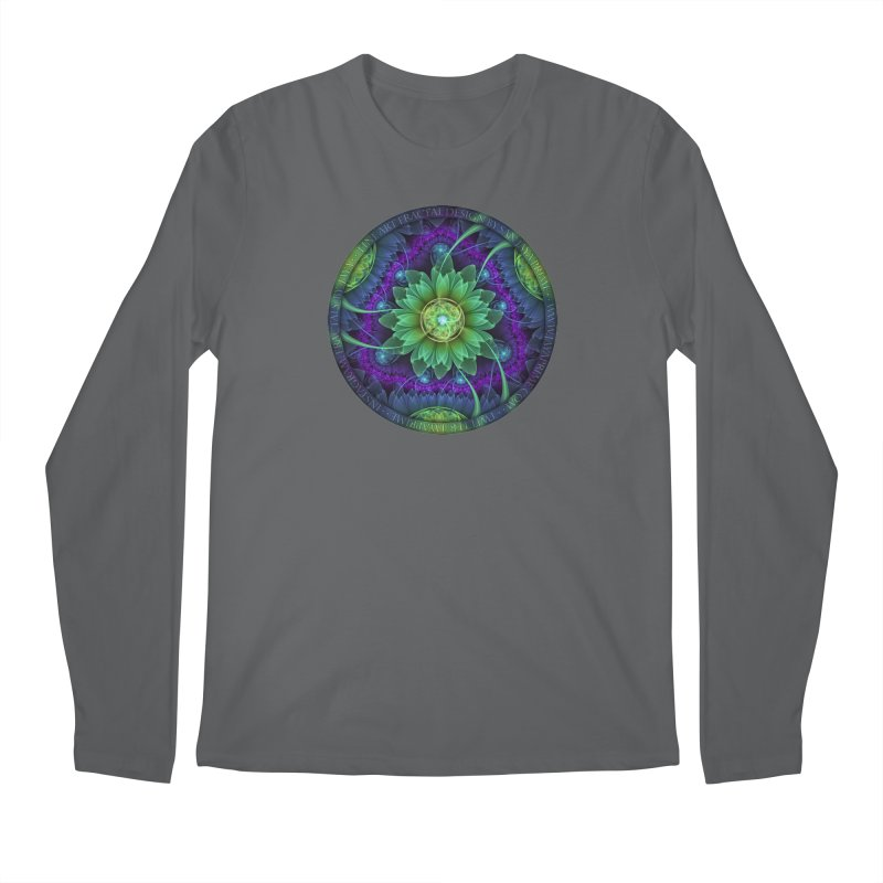 Blue and Green Pandoran Snap Lotus Fractal Flower Men's Regular Longsleeve T-Shirt by The Fractal Art of San Jaya Prime