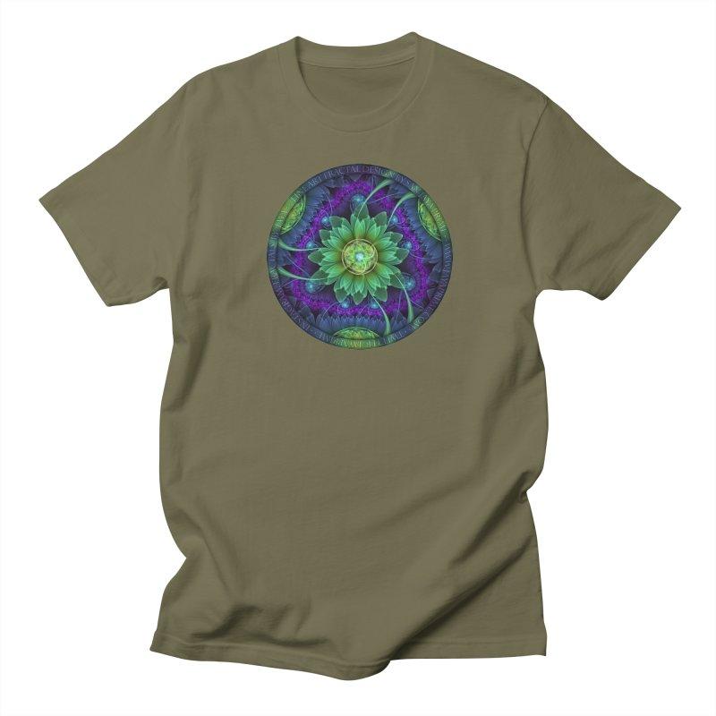 Blue and Green Pandoran Snap Lotus Fractal Flower Men's Regular T-Shirt by The Fractal Art of San Jaya Prime