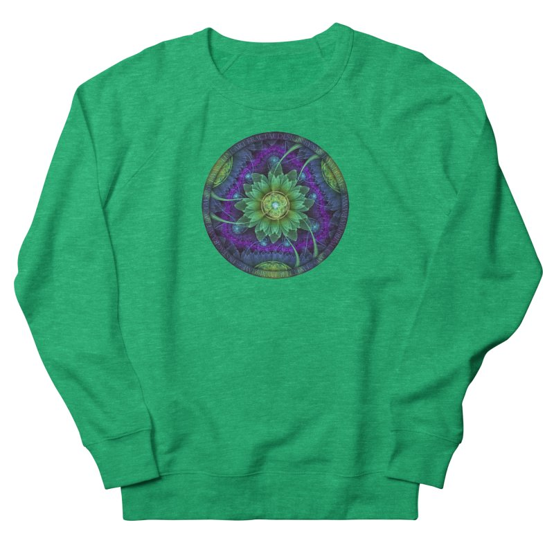 Blue and Green Pandoran Snap Lotus Fractal Flower Women's French Terry Sweatshirt by The Fractal Art of San Jaya Prime