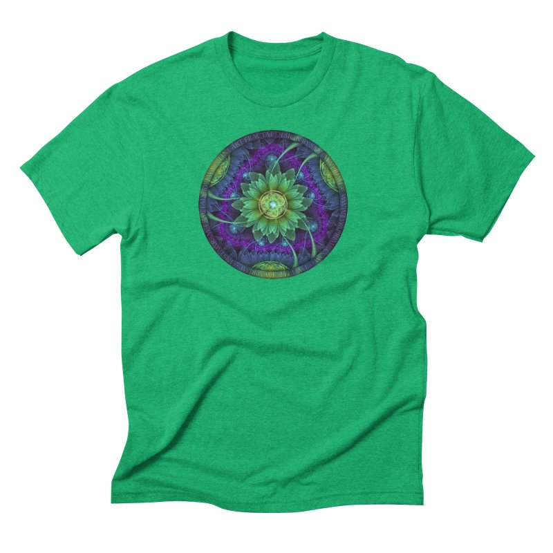 Blue and Green Pandoran Snap Lotus Fractal Flower Men's Triblend T-Shirt by The Fractal Art of San Jaya Prime
