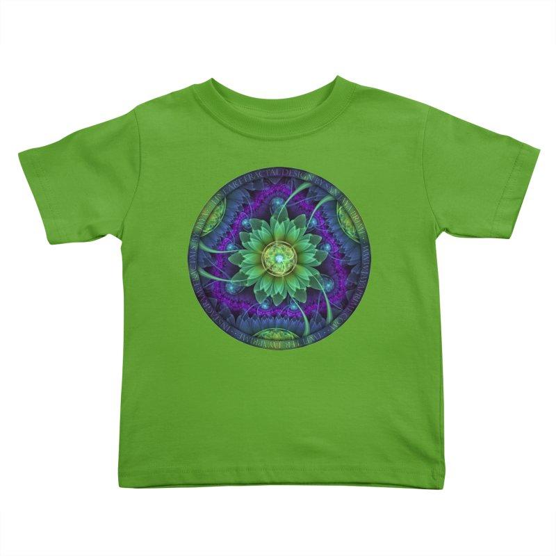 Blue and Green Pandoran Snap Lotus Fractal Flower Kids Toddler T-Shirt by The Fractal Art of San Jaya Prime