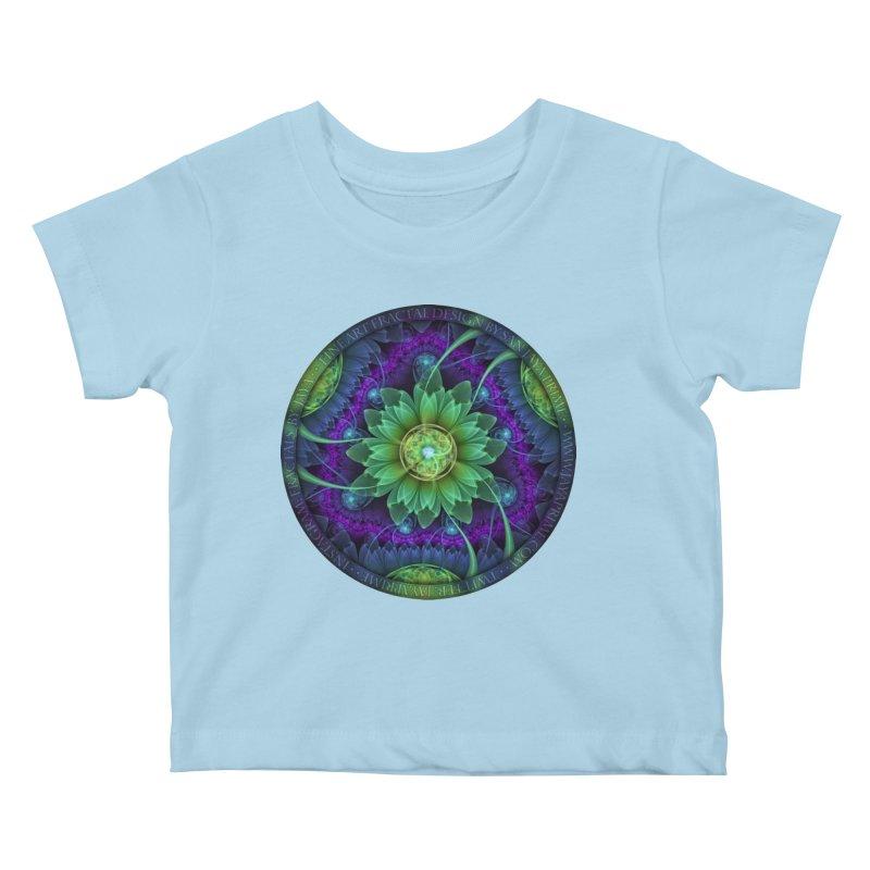 Blue and Green Pandoran Snap Lotus Fractal Flower Kids Baby T-Shirt by The Fractal Art of San Jaya Prime