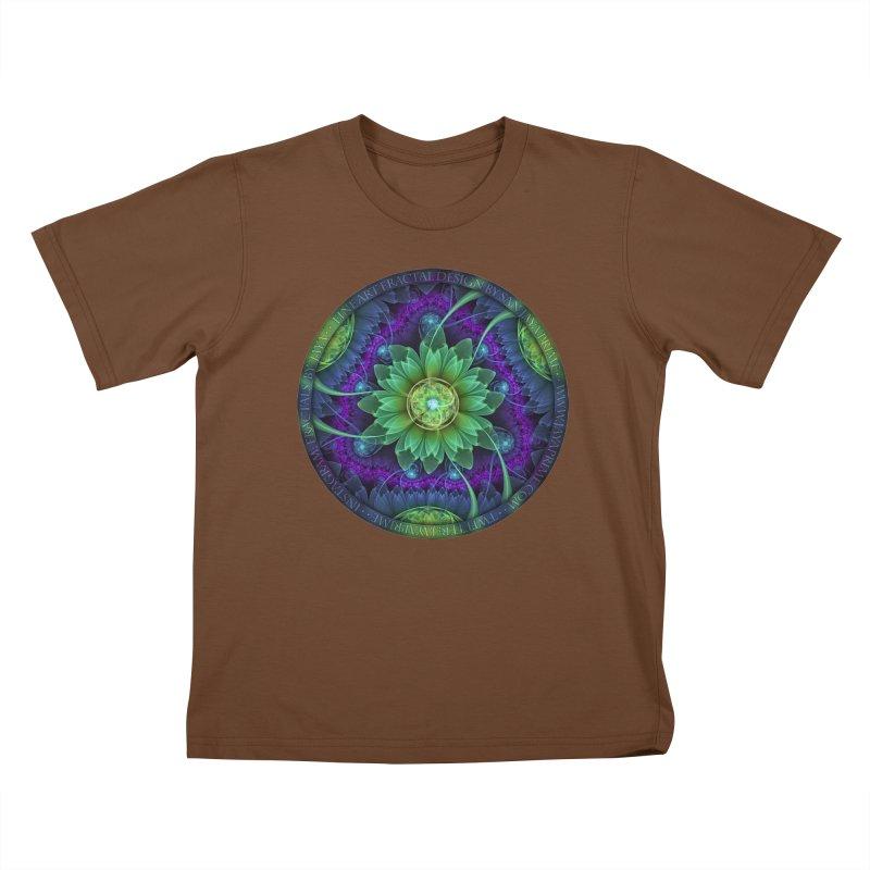 Blue and Green Pandoran Snap Lotus Fractal Flower Kids T-Shirt by The Fractal Art of San Jaya Prime