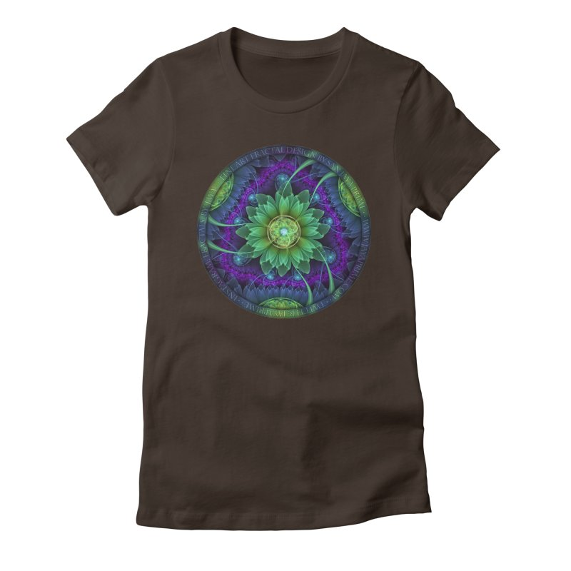 Blue and Green Pandoran Snap Lotus Fractal Flower Women's Fitted T-Shirt by The Fractal Art of San Jaya Prime